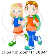 Clipart Boy And Girl Walking To School With Backpacks Royalty Free Vector Illustration