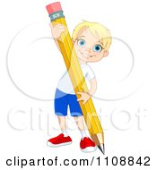 Clipart Happy School Boy Writing With A Giant Pencil Royalty Free Vector Illustration by Pushkin
