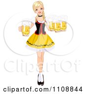 Blond Oktoberfest Beer Maiden In A Red Black And Yellow Costume