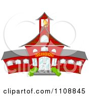 Clipart Bell Ringing In A Tower Of A Red School Royalty Free Vector Illustration by Pushkin