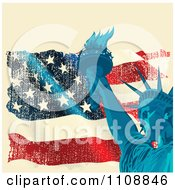 Clipart Statue Of Liberty And Torch Over A Grungy American Flag On Beige Royalty Free Vector Illustration