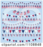 American Flag Bunting And Pennant Banners On Blue