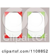 Clipart Blank Notice Boards With Red And Green Corner Holders Royalty Free Vector Illustration