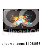 Clipart 3d Flat Screen Tv With Grungy Paint Splatters On The Display Royalty Free Vector Illustration