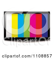 Clipart 3d Flat Screen Tv With Stripes On The Display Royalty Free Vector Illustration