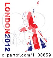 London 2012 Text With A British Union Jack Flag On White