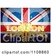 Clipart 3d Golden London 2012 Text With Stars Over A British Union Jack Flag And Reflection Royalty Free Vector Illustration by michaeltravers