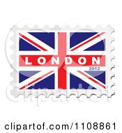 Clipart London 2012 Text On A British Union Jack Flag Stamp Royalty Free Vector Illustration by michaeltravers