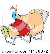 Clipart Chubby Man Sun Bathing And Holding A Beverage Royalty Free Vector Illustration