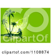 Clipart Silhouetted Woman Crouching On A Tropical Island Against Green And Magic Orbs Royalty Free Vector Illustration