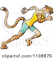 Clipart Athletic Track And Field Runner Cheetah Royalty Free Vector Illustration