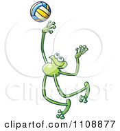 Clipart Athletic Volleyball Player Frog Royalty Free Vector Illustration by Zooco