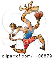 Clipart Athletic Basketball Player Giraffe Royalty Free Vector Illustration