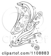 Clipart Black And White Dolphins Swimming In Swirl Waves Royalty Free Illustration by LoopyLand