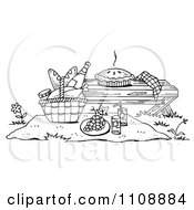 Clipart Black And White Picnic Scene With A Pie On A Bench And Food On A Blanket Royalty Free Illustration