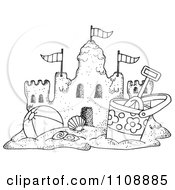 Clipart Black And White Beach Bucket And Ball By A Sand Castle - Royalty Free Illustration by LoopyLand