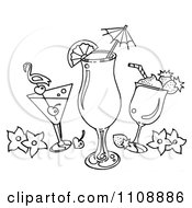 Clipart Black And White Tropical Cocktail Beverages Royalty Free Illustration by LoopyLand #COLLC1108886-0091