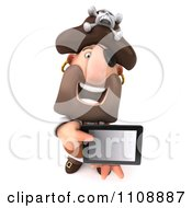 Clipart 3d Pirate Holding A Tablet Computer 1 Royalty Free CGI Illustration by Julos