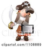 Clipart 3d Pirate Holding A Tablet Computer 3 Royalty Free CGI Illustration by Julos