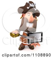 Clipart 3d Pirate Holding A Tablet Computer 4 Royalty Free CGI Illustration by Julos