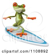 Clipart 3d Springer Frog Surfing 2 Royalty Free CGI Illustration