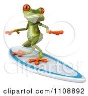Clipart 3d Springer Frog Surfing 2 Royalty Free CGI Illustration