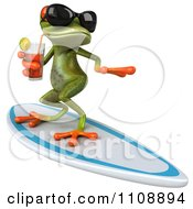 Clipart 3d Springer Frog Surfing And Sipping Tea 1 Royalty Free CGI Illustration
