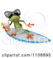 Clipart 3d Springer Frog Surfing And Sipping Tea 2 Royalty Free CGI Illustration