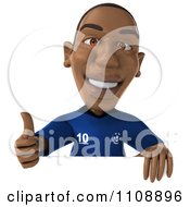 Clipart 3d Black French Soccer Player Holding A Sign 1 Royalty Free CGI Illustration