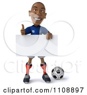 Clipart 3d Black French Soccer Player Holding A Sign 2 Royalty Free CGI Illustration