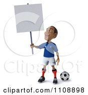 Clipart 3d Black French Soccer Player Holding A Sign 3 Royalty Free CGI Illustration