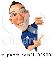 Clipart 3d White French Soccer Player With A Sign 1 Royalty Free CGI Illustration