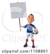 Clipart 3d White French Soccer Player With A Sign 2 Royalty Free CGI Illustration
