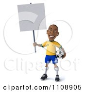 Clipart 3d Brazilian Soccer Player Holding A Sign Royalty Free CGI Illustration