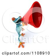 Clipart 3d Turquoise Springer Frog Announcing With A Megaphone 2 Royalty Free CGI Illustration