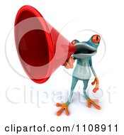 Clipart 3d Turquoise Springer Frog Announcing With A Megaphone 3 Royalty Free CGI Illustration