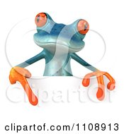 Clipart 3d Turquoise Springer Frog With A Sign 8 Royalty Free CGI Illustration