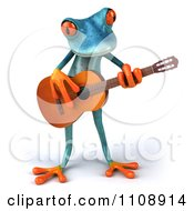 Clipart 3d Turquoise Springer Frog Playing A Guitar 1 Royalty Free CGI Illustration