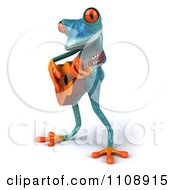 Clipart 3d Turquoise Springer Frog Playing A Guitar 2 Royalty Free CGI Illustration