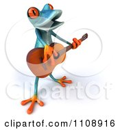 Clipart 3d Turquoise Springer Frog Playing A Guitar 3 Royalty Free CGI Illustration