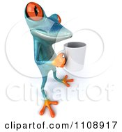 Clipart 3d Turquoise Springer Frog With A Coffee Mug 6 Royalty Free CGI Illustration