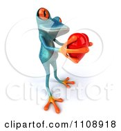 Clipart 3d Turquoise Springer Frog Holding A Heart 4 Royalty Free CGI Illustration