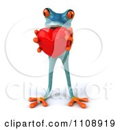 Clipart 3d Turquoise Springer Frog Holding A Heart 5 Royalty Free CGI Illustration