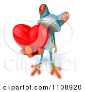 Clipart 3d Turquoise Springer Frog Holding A Heart 6 Royalty Free CGI Illustration