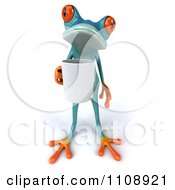 Clipart 3d Turquoise Springer Frog With A Coffee Mug 5 Royalty Free CGI Illustration