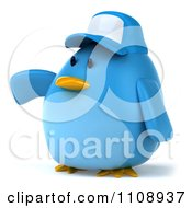 Clipart 3d Chubby Blue Bird Wearing A Hat And Presenting Royalty Free CGI Illustration