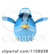 Clipart 3d Chubby Blue Bird Wearing A Hat And Flying 1 Royalty Free CGI Illustration