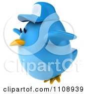 Clipart 3d Chubby Blue Bird Wearing A Hat And Flying 2 Royalty Free CGI Illustration