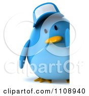 Clipart 3d Chubby Blue Bird Wearing A Hat And Holding A Sign 1 Royalty Free CGI Illustration