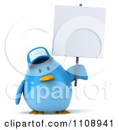 Clipart 3d Chubby Blue Bird Wearing A Hat And Holding A Sign 2 Royalty Free CGI Illustration